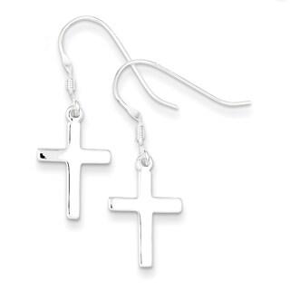 Sterling Silver Polished Cross Dangle Earrings by Versil