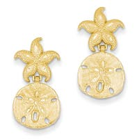 14k Yellow Gold Diamond Cut Nautical Post Dangle Earrings by Versil