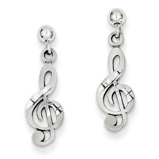 14k White Gold Treble Clef Dangle Earrings by Versil