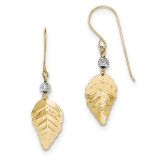 14k Two Tone Stamped Leaf Shepherd Hook Earrings by Versil