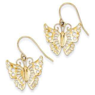 14k Dangle Butterfly Shepherd Hook Earrings by Versil