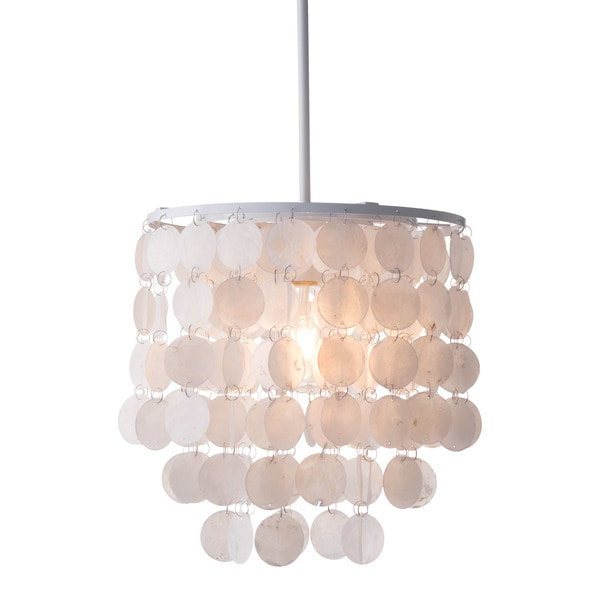 Carson Carrington Femsjo White Fabric/Metal Shell Ceiling Lamp