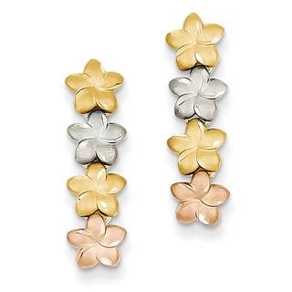 14k Tri-Color Plumeria Earrings by Versil