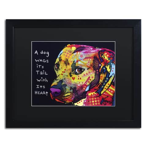 Dean Russo 'Gratitude Pitbull' Matted Framed Art