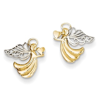 14k and Rhodium Angel with Heart Post Earrings by Versil