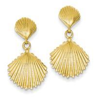 14k Scallop Shell Dangle Post Earrings by Versil