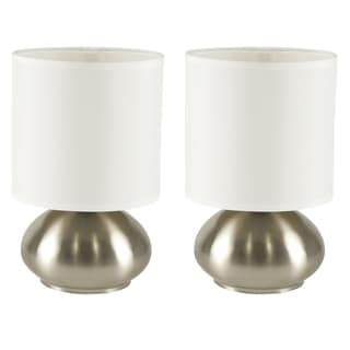 Light Accents Bedroom Side Table Lamps with On/Off Touch Sensor Brushed Nickel (Set of 2)