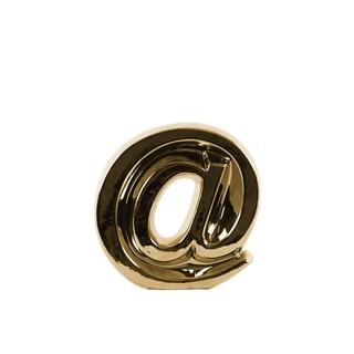 Polished Chrome Finish Goldtone Small Ceramic Alphabet Symbol '@' Figurine