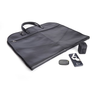 Royce Leather Garment Bag Travel Set with Bluetooth-based Tracking Device , Portable Power Bank and International Adapter