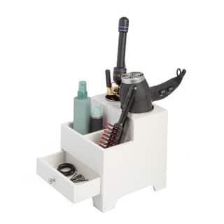Richards Homewares White 2 Compartment Hair Dryer Organizer|https://ak1.ostkcdn.com/images/products/12206361/P19053313.jpg?impolicy=medium