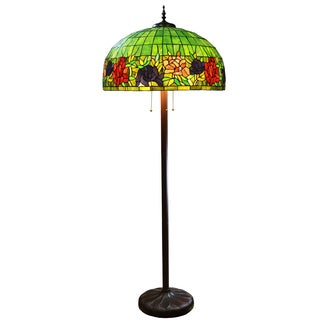 Zocha Green Floral Stained Glass 26.5-inch 3-light Floor Lamp