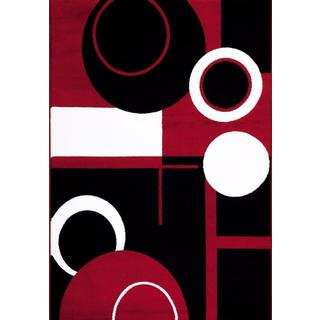 Persian Rugs Tobi's Collection Red Black White Circle Abstract Area Rug (2' x 3')