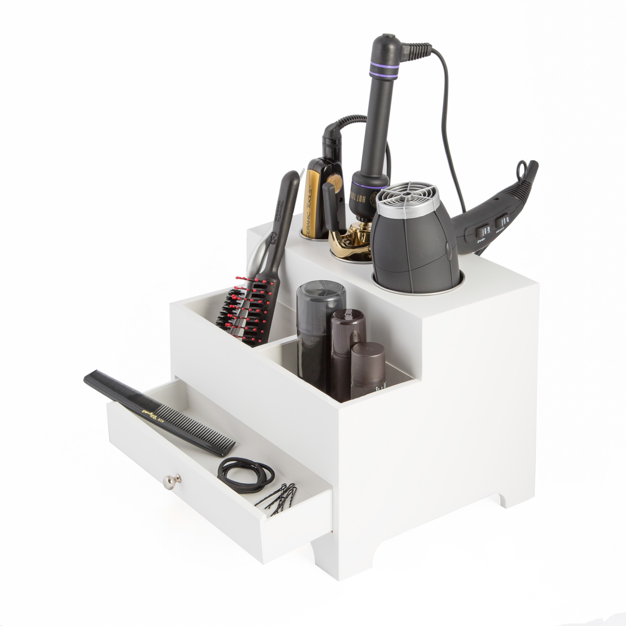 Richards White 3-compartment Hair Dryer Organizer with Po...