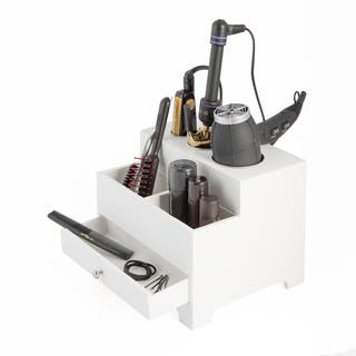 White 3-compartment Hair Dryer Organizer with Power Strip|https://ak1.ostkcdn.com/images/products/12206373/P19053314.jpg?impolicy=medium