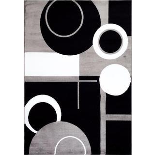 Persian Rugs Tobi's Collection Grey Circle Black Circle Abstract Area Rug (5'2 x 7'2)