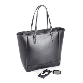 Royce Leather Tote Bag Travel Set with Universal Bluetooth-Enabled Tracking Device and Portable Battery Power Bank
