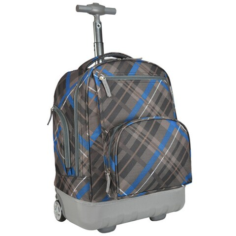 Pacific Gear Treasureland Grey Plaid Hybrid Lightweight Rolling Backpack