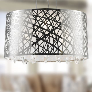 High Gloss Modern 4 Light Chrome Finish Oval Drum Shade with Clear Crystal Chandelier