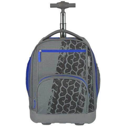 Pacific Gear Treasureland Tiretrack Grey Polycarbonate Lightweight Rolling Backpack