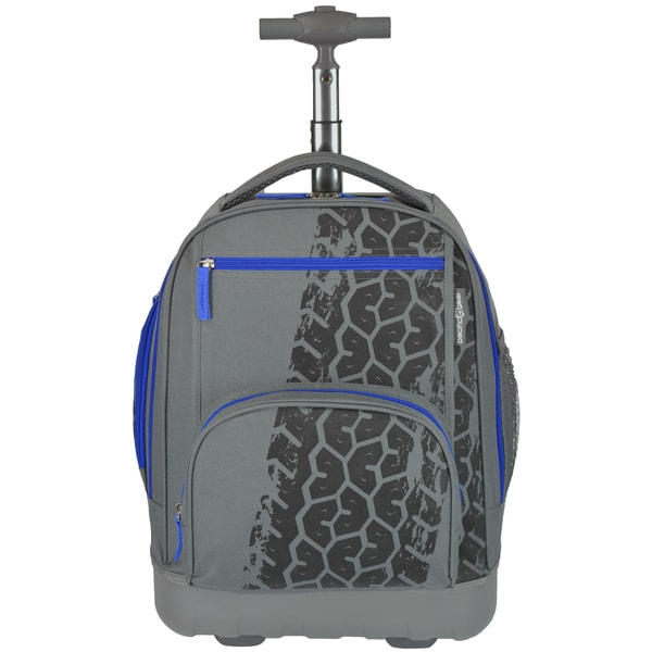 Pacific Gear Treasureland Tiretrack Grey Polycarbonate Lightweight Rolling Backpack