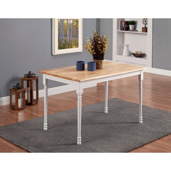 Shop Coaster Fine Furniture Nelms Walnut Round Dining: Shop Coaster Company White And Natural Wood Dining Table