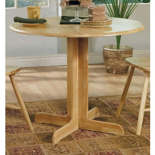 Coaster Company Damen Round Pedestal Table with Leaf - Brown
