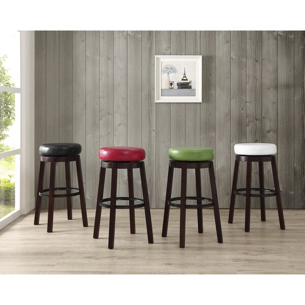 Set Of 2 Swivel Leather Circle Bar Stools Free Shipping
