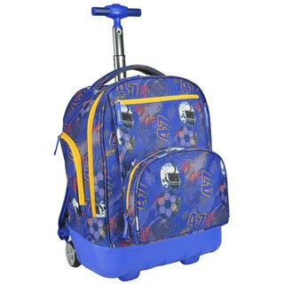 Pacific Gear Treasureland Football Blue Hybrid Lightweight Rolling Backpack