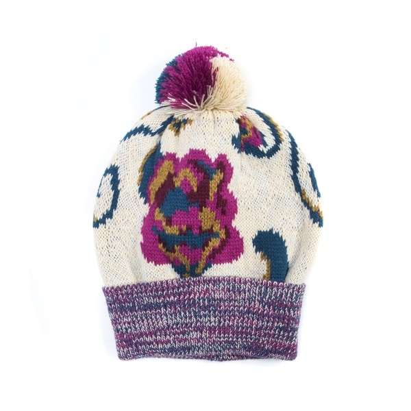 53ead5779fa14 Muk Luks Women's Acrylic Floral Pom Beanie - Free Shipping On Orders ...