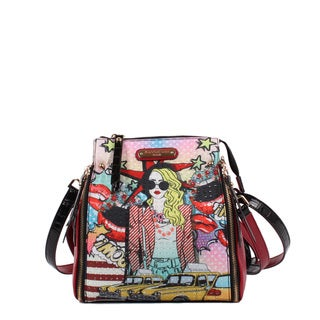 Nicole Lee Pop Girl Print Convertible Crossbody Handbag/Backpack