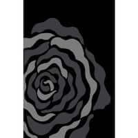 Persian Rugs Floral Grey Black Area Rug - 5'2 x 7'2