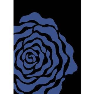 Persian Rugs Floral Light Blue Black Area Rug (2' x 3')