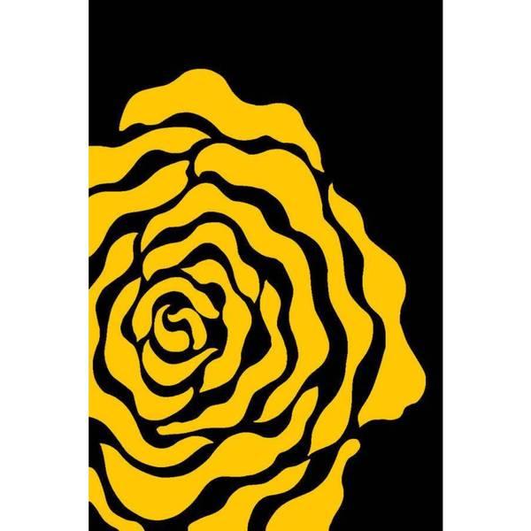 Persian Rugs Fl Yellow Black Area Rug 7 X27 10