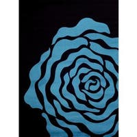 Persian Rugs Floral Turquoise Black Area Rug - 5'2 x 7'2