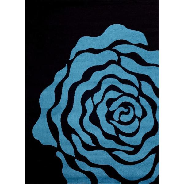 """Persian Rugs Floral Turquoise Black Area Rug - 7'10"""" x 10'6"""""""
