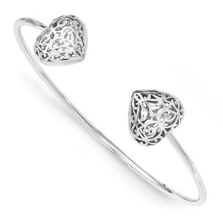 Sterling Silver Rhodium-plated Heart Cuff Bangle by Versil