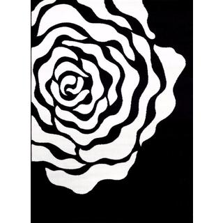 Persian Rugs Floral White Black Area Rug (5'2 x 7'2)