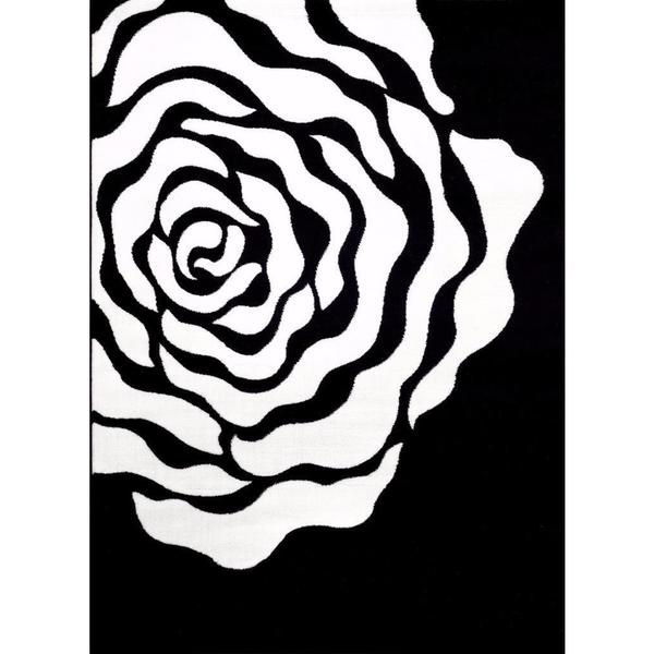 Persian Rugs Floral White Black Area Rug 5 39 2 X 7 39 2