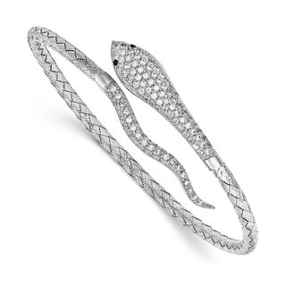Sterling Silver Polished Rhodium-plated Braided Cuff Cubic Zirconia Pave Snake Bangle by Versil