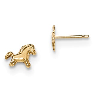 14k Polished Horse Post Earrings by Versil