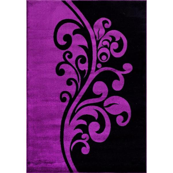 "Persian Rugs Floral Yin Yang Purple/ Black Designed Area Rug - 7'10"" x 10'6"""