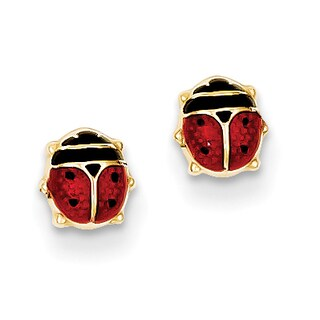 14k Enameled Ladybug Earrings by Versil