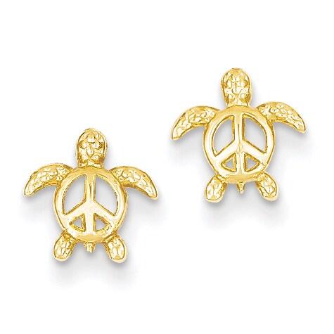 14k Peace Turtle Post Earrings by Versil (Post & Push Bac...