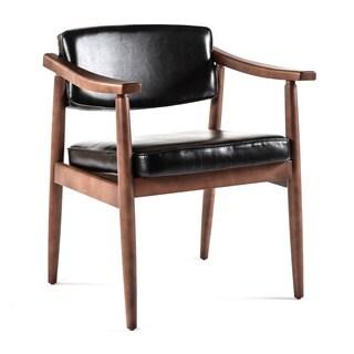 Hans Andersen Home Jonkobing Dark Walnut Black PU Leather Arm Chair