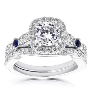 Annello by Kobelli 14k White Gold 1 1/6ct Brilliant Moissanite/ Sapphire/ 3/5ct TDW Diamond Halo Ant