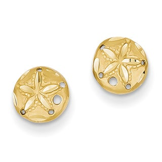 14k Diamond-cut Sand Dollar Earrings by Versil