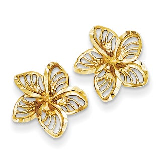 14k Diamond-cut Filigree Plumeria Earrings by Versil