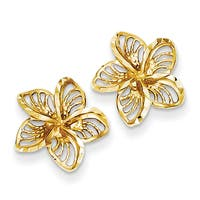 Versil 14 Karat Diamond-cut Filigree Plumeria Earrings