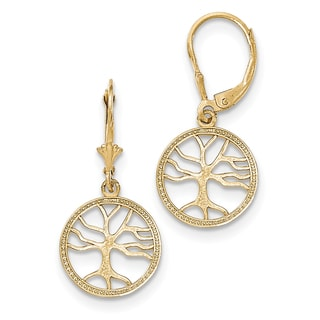 14k Gold Polished Tree of Life in Round Frame Leverback Earrings by Versil