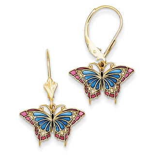 14k Butterfly with Blue Stained Glass Leverback Earrings by Versil